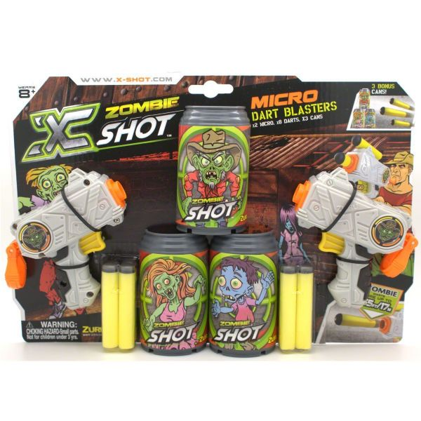 Zuru X-Shot (XShot) Zombie Edition Micro Dart Blasters Includes 3 Target Cans